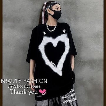 〜3L*BIGハート裾ダメージTシャツ*黒