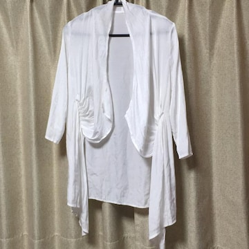 CITRUSNOTES☆ホワイト☆白☆七分袖ドレープカーディガン