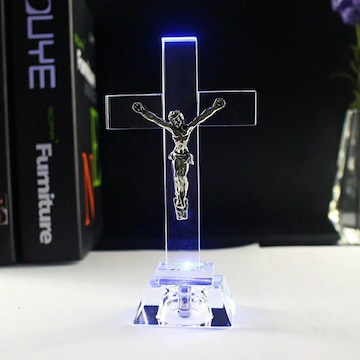 ガラス キリスト像 LED   置物