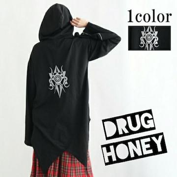 【DrugHoney】バッグロゴ刺繍袖ジップ装飾ヘムカットパーカー