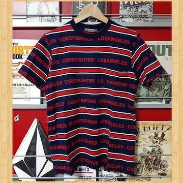 COREFIGHTER コアファイター ロゴボーダー  Tシャツ S ネイビー kj 美品