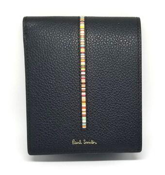 正規未使用ポールスミス財布レザーブラックストライプ黒