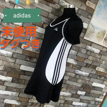ワンピース adidas 白黒 ノースリーブ
