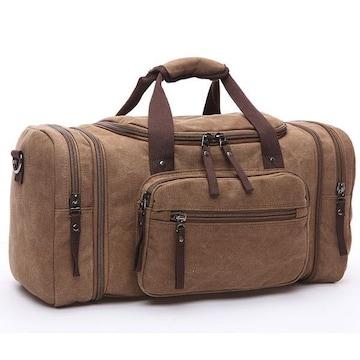 ボストンバッグ 旅行鞄 キャンバス メンズ 2WAY コーヒー