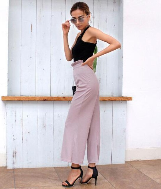 500スタ☆ANAPウエストフリルワイドパンツ☆新品タグ付きくすみピンク < 女性ファッションの