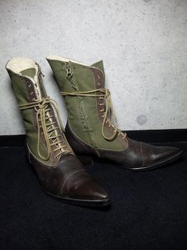 トルネードマート〓レースアップブーツ靴〓ブラウン×カーキ/M