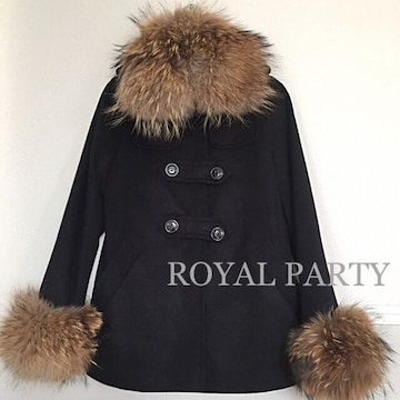 SALE●定価26,040円●ROYAL PARTY●ラクーン衿付きコート●黒