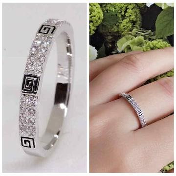 指輪18KRGPプラチナ高級CZ上品リングyu1042e