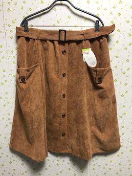 4Lサイズ コーデュロイ 前ボタンスカート キャメル