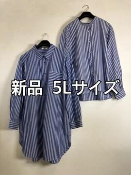 新品☆5Lブルー系ストライプシャツ&チュニックのセット☆m373