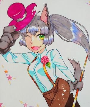 自作イラスト/創作/狼/女の子/イラストマーカー/色鉛筆