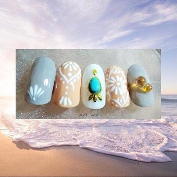 ジェルネイルチップ☆付け爪~モロッコタイル柄☆ターコイズ