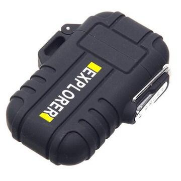 �溺 防水仕様のプラズマライター 軽量 USB充電 マットブラック