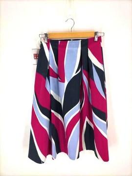 BALLSEY(ボールジー)ジオメトリックプリント ランダムタックスカートフレアスカート