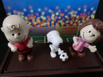 ビンテージサッカー選手スヌーピーフィギュアケース入3体セット