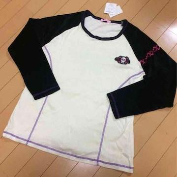 新品◆ドクロワッペン◆袖ベロア素材ロンT◆長袖Tシャツ◆3L