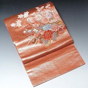 【名古屋帯】正絹 明るい朱地 刺繍 カラフルな小花柄