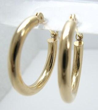 【新品未使用】K18 フープピアス ゴールド 18金 両耳用