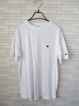 即決/Champion/ワンポイントロゴ刺繍半袖Tシャツ/メンズ/白/L