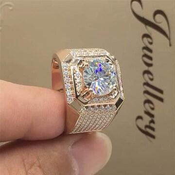18kピンクゴールドGPダイヤモンドCZ 印台リング指輪