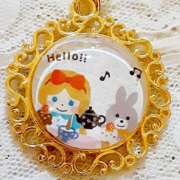 アリスとウサギ☆2.5cmカボション・ストラップ    ハンドメイド