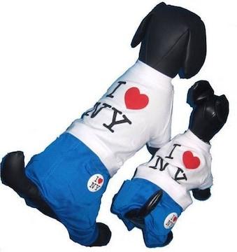 J06)Sサイズ!バッジ付I LoveNYつなぎホワイトTシャツパンツ小型犬服Dogチワワ