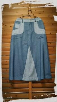 *+cotton+linen+rayon パッチワーク風デニムスカート*L ブルー