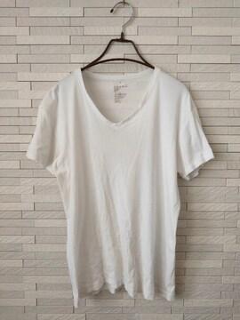 即決/無印良品/メンズ/半袖VネックコットンTシャツ/無地/白/L