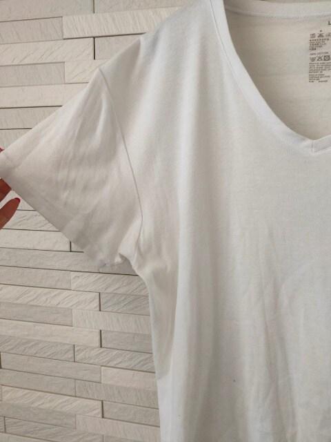即決/無印良品/メンズ/半袖VネックコットンTシャツ/無地/白/L < ブランドの
