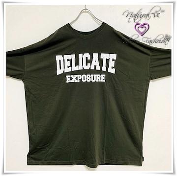 新作★大きいサイズ〜6L DELICATEロゴプリBigTシャツワンピ*カーキ