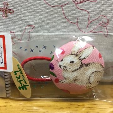 ミミカ、ウサギ柄、くるみボタンヘアゴム、ハンドメイド1
