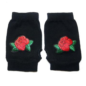 薔薇 バラ ローズ ワッペン ハンドカバー グローブ 指無し 手袋