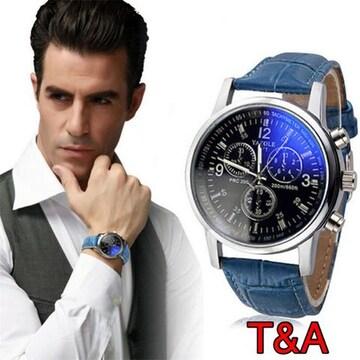 腕時計 メンズ  高品質レザー 革 ベルト ウォッチ  ブルー