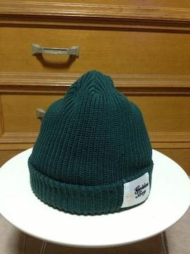 古着 ワッペン付き ニットキャップ 帽子 S〜Mサイズ小さめ 緑 CA4LA 日本製