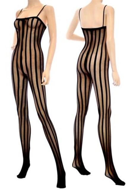 値下げ!5a2)LA発MUSICLEGSシアーストライプボディストッキング黒B系タイツ < 女性ファッションの