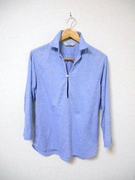 □EDIFICE/エディフィス 7分袖 シャツ/メンズ/40(M)☆水色