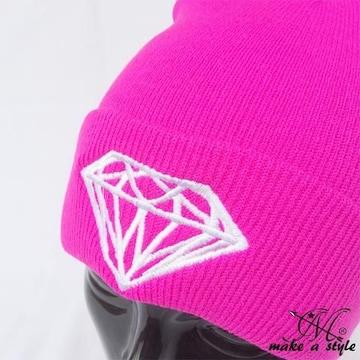 ダイヤモンド 刺繍 ニットキャップ ワッチキャップ ピンクB系451