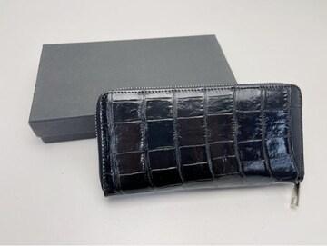 D416 高級 クロコダイル ワニ革 ラウンドファスナー長財布