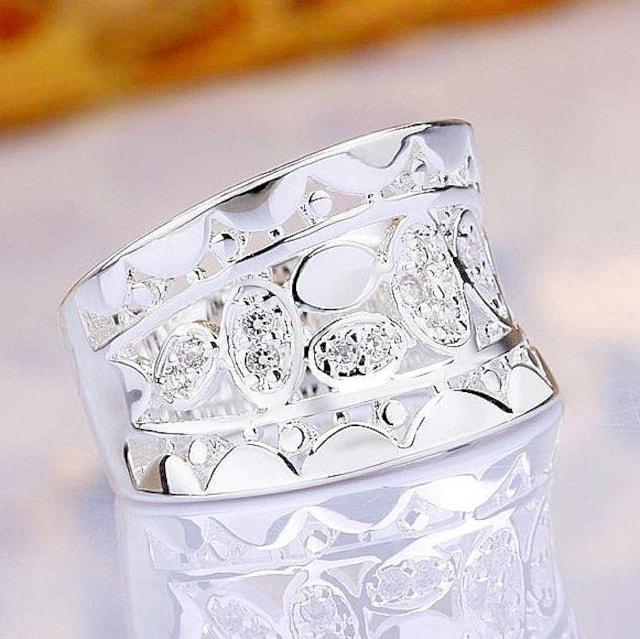 特A品 新品1円〜★送料無料★15号 シルバー925 ダイヤモンド シルバーリング