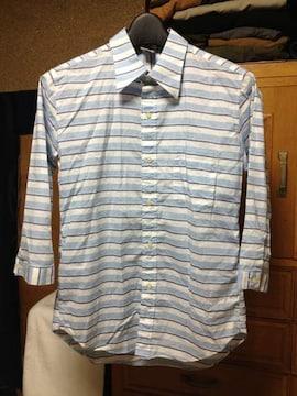 チャオパニック ボーダー柄 七分袖シャツ Sサイズ 白+水+紺 日本製 長袖 古着