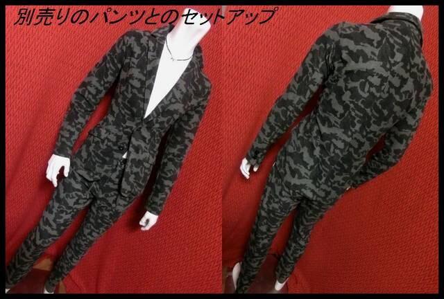迷彩カモフラパイル地テーラードJKT/BLKカモ/M 特価 < 男性ファッションの