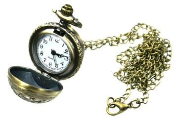 球型 懐中時計 ネックレス アンティークゴールド