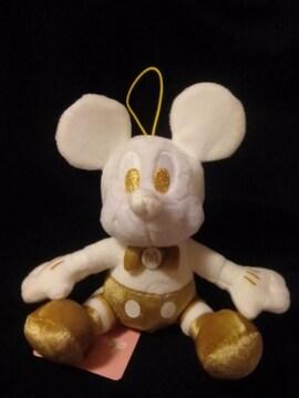 ■ミッキーマウス■ホワイト×ゴールドぬいぐるみマスコット■