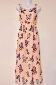 ピンク紫フラワー花柄マキシロングドレスワンピースローズバラ