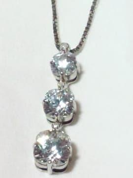 本物 ダイヤモンド 0.04 カラット ジルコニア 925シルバー ネックレス
