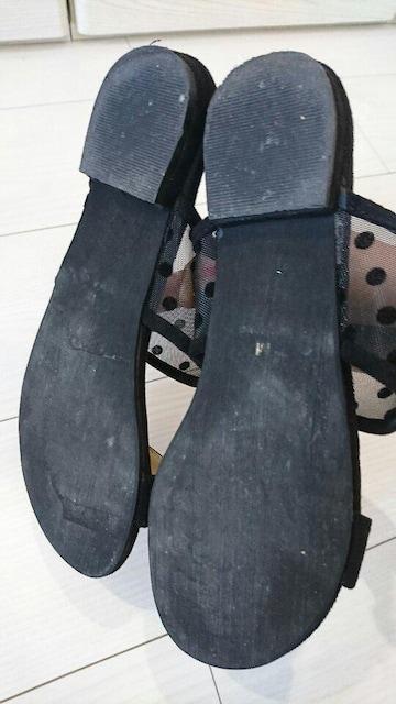 MINIA 水玉フラットサンダル サイズM < 女性ファッションの
