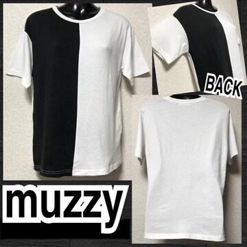 【muzzy】バイカラーハーフ切替Tシャツ