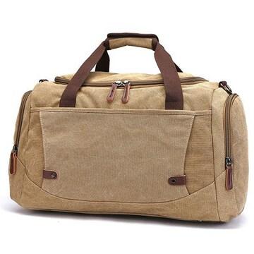 ボストンバッグ 旅行鞄 超大容量 キャンバス 2way カーキ