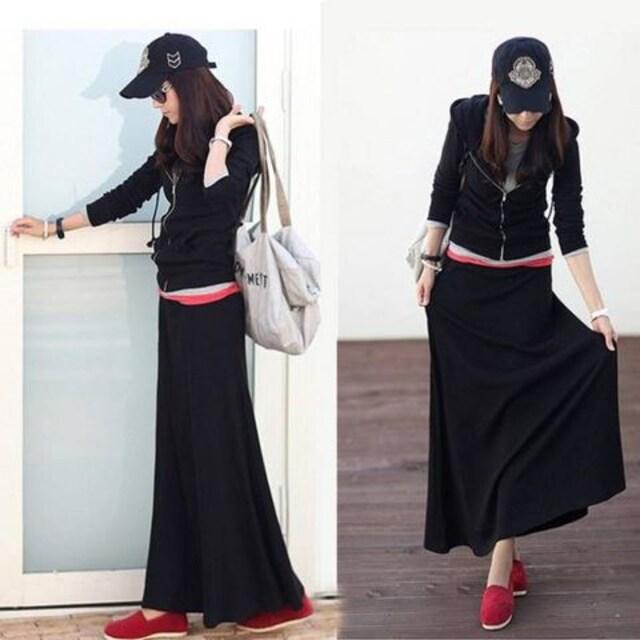トップス&ロングスカート★セットアップ(Lサイズ.黒)  < 女性ファッションの
