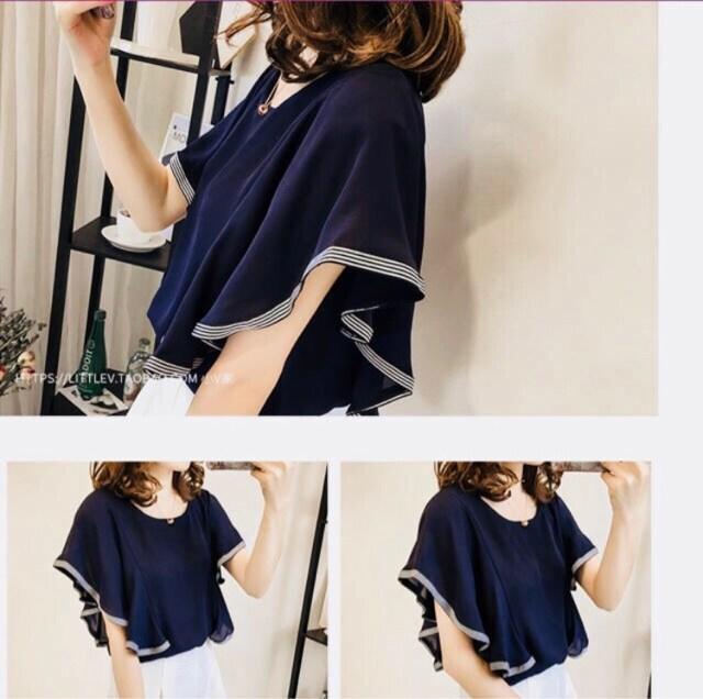【新品】フリル 半袖 シフォンプルオーバー  ネイビー L < 女性ファッションの